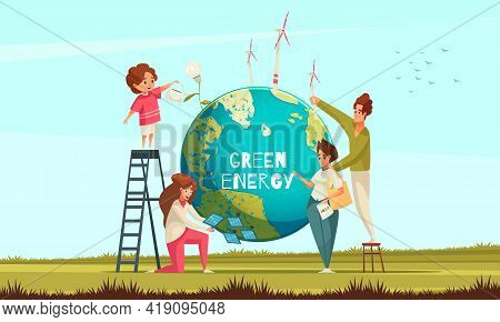 Green Ecological Energy Flat Symbolic Composition With Family Placing Wind Turbines Solar Panels On