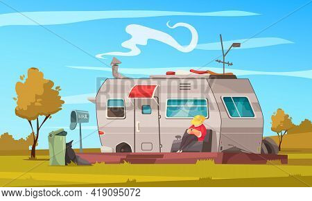 Recreational Vehicle Trailer Summer Vacation Cartoon Composition With Man Enjoying Nature Sitting Ou