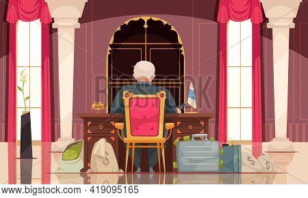 Political Corruption Flat Cartoon Composition With Corrupt Government Official In Office With Sacks