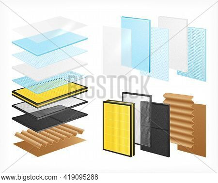 Layered Materials Realistic Set With Isolated Images Of Material Rows With Views Of Single Layers St