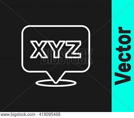 White Line Xyz Coordinate System Icon Isolated On Black Background. Xyz Axis For Graph Statistics Di