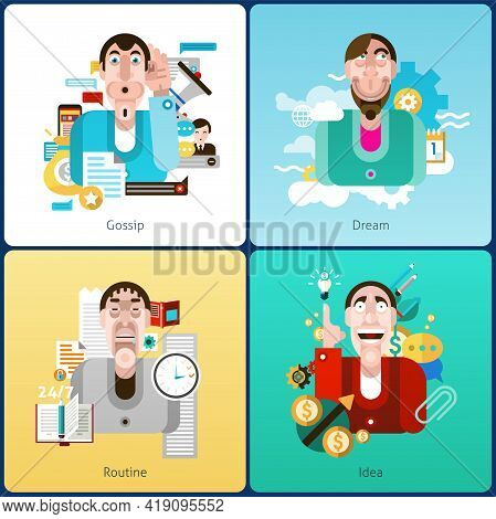 Emotion Design Concept Set With Gossip Dream Routine And Idea Flat Icons Isolated Vector Illustratio