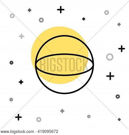 Black Line Geometric Figure Sphere Icon Isolated On White Background. Abstract Shape. Geometric Orna