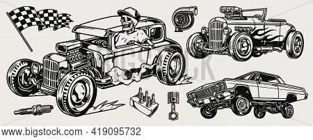 Hot Rod And Lowrider Cars Concept With Skeleton Driver Racing Checkered Flag Piston Spark Plug Turbo