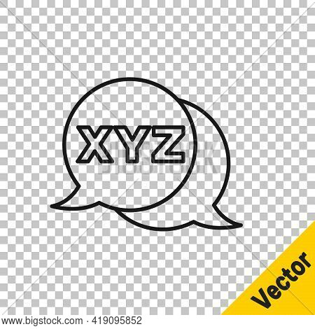 Black Line Xyz Coordinate System Icon Isolated On Transparent Background. Xyz Axis For Graph Statist