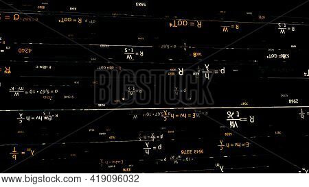 Endless Quantity Of Scientific Formulas Turned Upside Down Being Written On Black Background, Seamle