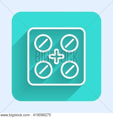 White Line Pills In Blister Pack Icon Isolated With Long Shadow. Medical Drug Package For Tablet, Vi