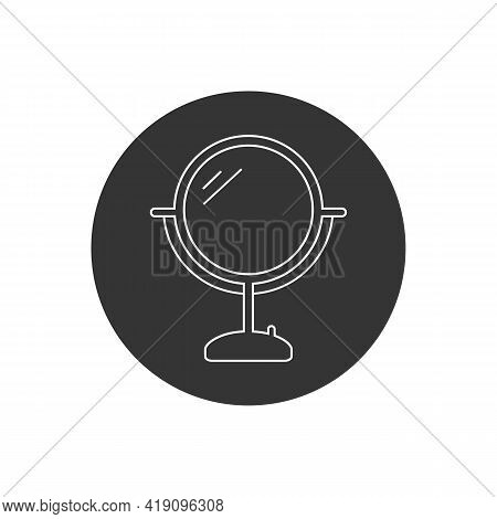 Mirror Line White Icon. Table Mirror Vector Illustration