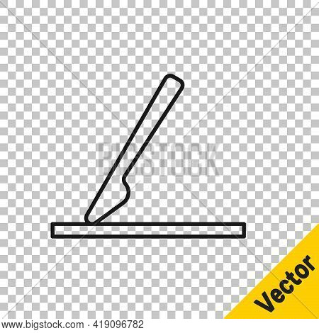 Black Line Medical Surgery Scalpel Tool Icon Isolated On Transparent Background. Medical Instrument.