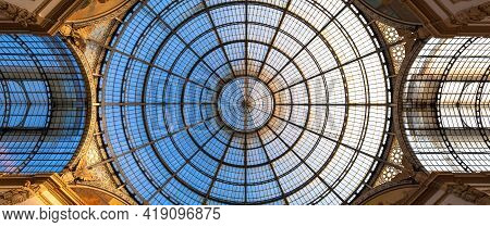 Milan, Italy - Circa August 2020: Architecture In Milan Fashion Gallery, Italy. Dome Roof Architectu