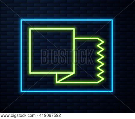 Glowing Neon Line Textile Fabric Roll Icon Isolated On Brick Wall Background. Roll, Mat, Rug, Cloth,