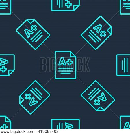 Green Line Exam Sheet With A Plus Grade Icon Isolated Seamless Pattern On Blue Background. Test Pape