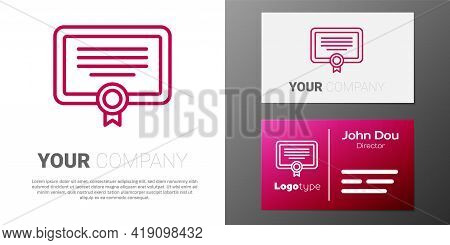 Logotype Line Certificate Template Icon Isolated On White Background. Achievement, Award, Degree, Gr