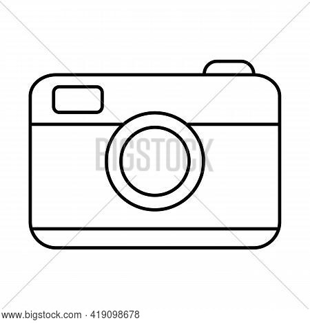 Photographic Equipment. Photo Camera With A Lens On Vacation And Travel. Vector Line Icon. Editable