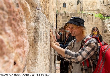 Jerusalem, Israel, March 3, 2021 : Numerous Visitors And Believers Pray Near The Little Western Wall