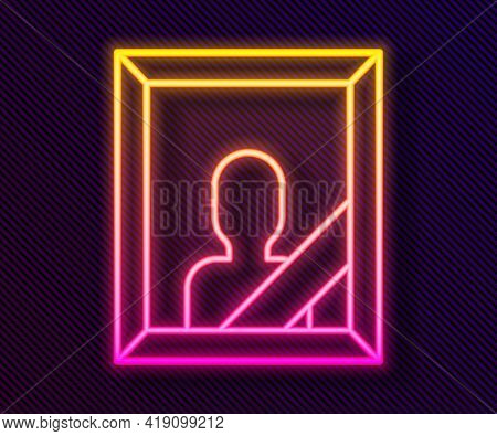 Glowing Neon Line Mourning Photo Frame With Black Ribbon Icon Isolated On Black Background. Funeral