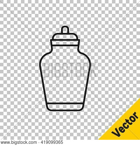 Black Line Funeral Urn Icon Isolated On Transparent Background. Cremation And Burial Containers, Col