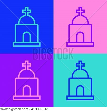Pop Art Line Old Crypt Icon Isolated On Color Background. Cemetery Symbol. Ossuary Or Crypt For Buri