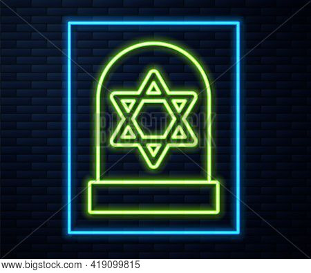 Glowing Neon Line Tombstone With Star Of David Icon Isolated On Brick Wall Background. Jewish Grave