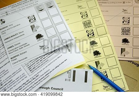 Basingstoke, Uk - May 2, 2021: Postal Ballot Papers For Elections To The Borough Council, County Cou