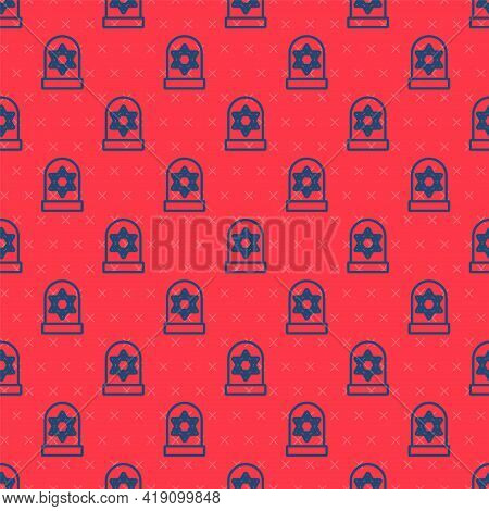 Blue Line Tombstone With Star Of David Icon Isolated Seamless Pattern On Red Background. Jewish Grav