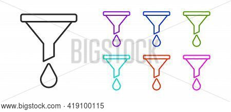 Black Line Funnel Or Filter Icon Isolated On White Background. Set Icons Colorful. Vector