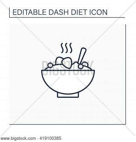 Porridge Bowl Line Icon. Healthy Meal, Diet Food. Grain With Fruits For Breakfast. High Health Care