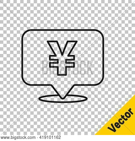 Black Line Chinese Yuan Currency Symbol Icon Isolated On Transparent Background. Coin Money. Banking