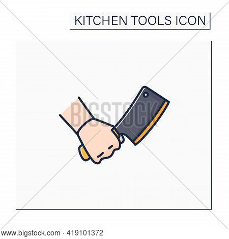 Cleaver Color Icon. Large Knife. Rectangular-bladed Meat Hatchet. Kitchen Tools Concept. Isolated Ve