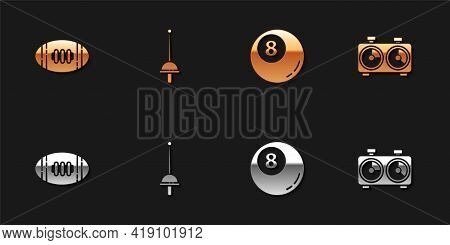 Set American Football Ball, Fencing, Billiard Pool Snooker And Time Chess Clock Icon. Vector