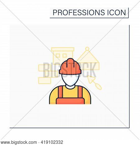 Builder Color Icon. Man Build Or Repair Houses.construction Worker. Important Job.professions Concep