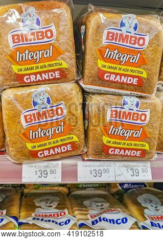 Bimbo Toast Integral Bread Packaging In The Supermarket In Mexico.