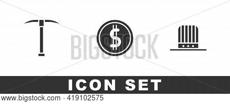 Set Pickaxe, Coin Money With Dollar And Patriotic American Top Hat Icon. Vector
