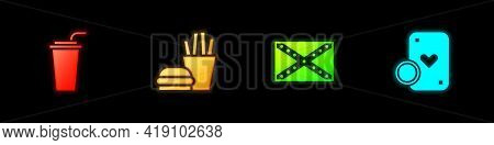 Set Paper Glass With Straw, Burger And French Fries, Flag Confederate And Casino Chip Playing Cards