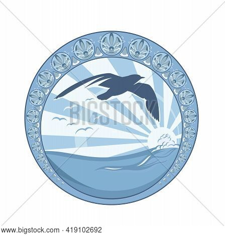 Seagull Flying Against Sun Rays Over Sea Wave - Aquatic Wildlife Circle Vector Emblem Design