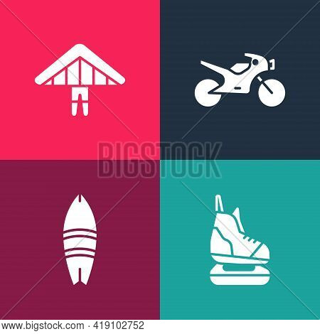 Set Pop Art Skates, Surfboard, Motorcycle And Hang Glider Icon. Vector