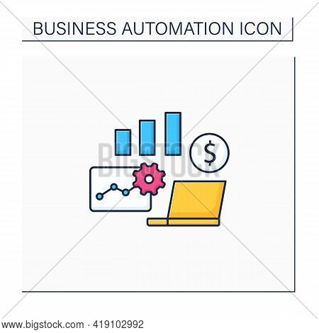 Business Metrics Color Icon. Saving Real Information In Databases. Shows Company Goals. Business Aut