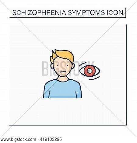 Schizophrenia Symptoms Color Icon. Flat, Expressionless Gaze. Lack Of Eye Contact. Wandering Gaze. H