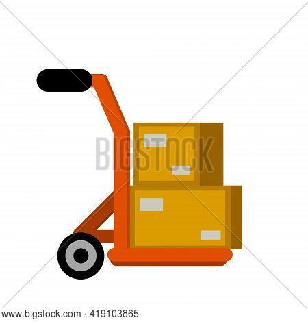 Handcart With Crates. Shipping Service And Cart. Warehouse And Logistics. Pushcart With Cargo. Deliv