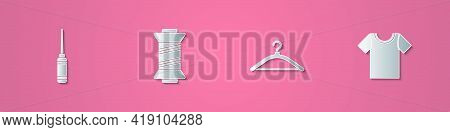 Set Paper Cut Awl Tool, Sewing Thread, Hanger Wardrobe And T-shirt Icon. Paper Art Style. Vector