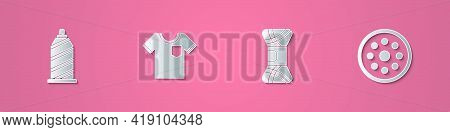 Set Paper Cut Sewing Thread, T-shirt, Yarn And Button Icon. Paper Art Style. Vector
