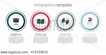 Set Projection Screen, Old Film Movie Countdown Frame, Cd Or Dvd Disk And Tripod. Business Infograph