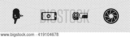 Set Retro Cinema Camera, Online Play Video, Cinema And Camera Shutter Icon. Vector