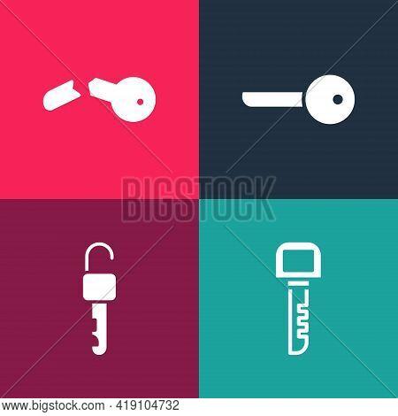 Set Pop Art Key, Unlocked Key, And Broken Icon. Vector