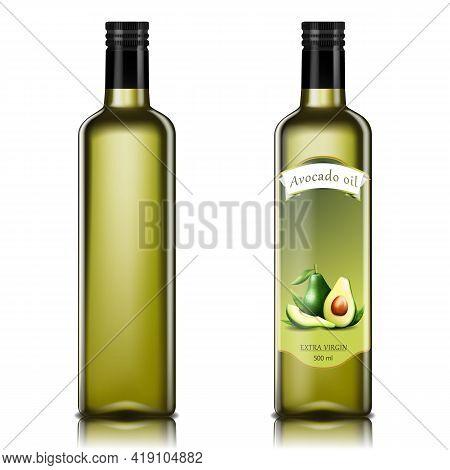 Avocado Oil Bottles, Oil Glass Bottles. Realistic 3d Vector Illustration. Extra Virgin Avocado Vecto