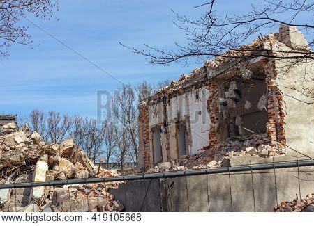 Damaged Destroyed House, Ruins, Emergency Destroyed Walls