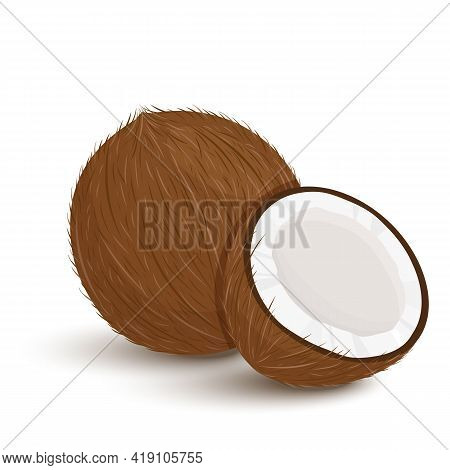 Set Of Exotic Whole, Half, Cut Slice Coconut Fruits And Leaves Isolated On White Background. Summer