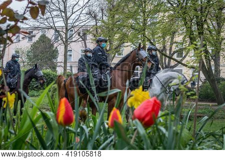 Hamburg, Germany - May 1, 2021: Police Mounted Riding Team On The Side Of A Demonstration During May
