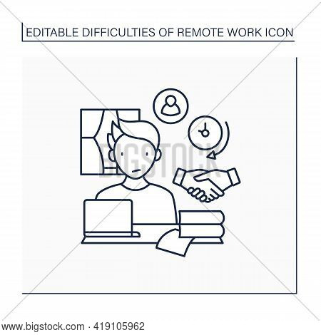 Remote Work Line Icon. Difficult To Build Trust Relationships With Coworkers. Need Real Time Convers