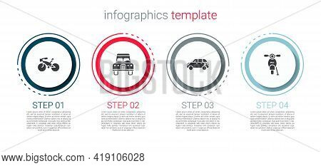 Set Bicycle, Car, Hatchback Car And Scooter. Business Infographic Template. Vector